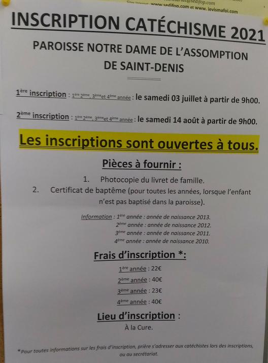 Inscriptioin catéchisme.
